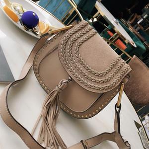 Дизайнер-дизайнерские сумки коровья кожа кисточкой заклепки сумка Марси сумка седло сумка через плечо сумки