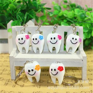 5 unids/lote simulación dibujos animados dientes llavero dentista decoración llaveros resina diente modelo forma llaveros clínica Dental regalo