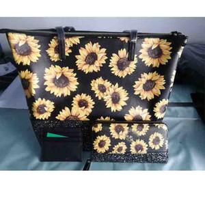 3pc / sac en cuir imprimé ensemble tournesol femmes grand sac fourre-tout cravate concepteur de sac à main faux colorant poignée en cuir sac à bandoulière vintage
