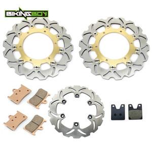 BIKINGBOY Front Rear Brake Discs Rotors Disks Pads for Yamaha YZF R1 1998 1999 2000 2001 98 99 00 01 Motorcycle Replacement Set