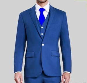 New Customize One Button Blue Groom Tuxedos Groomsmen Notch Lapel Best Man Mens Wedding Suits Bridegroom (Jacket+Pants+Vest+Tie) 4210