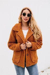 Warm Clothes Solid Womens Designer Faux Fur Fashiaon Single Breasted Womens Casual Autumn Winter Coats Big Pocket