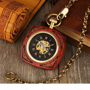 Vintage Automatic Royal Red Bamboo Square Men Pocket Watch Wood Pocket Watch Retro Antique Gifts for Women Reloj De Bolsillo