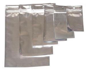 Plata del papel de aluminio volver a sellar claras de la válvula de la cremallera al por menor plástico Embalajes cremallera bolsa de OPP Poly paquete Cajas 8,5 * 14 12 * 20 15 * 22cm
