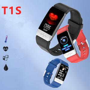 سمارت T1S الفرقة مع قياس درجة حرارة الجسم الضغط ECG + PPG للياقة البدنية المقتفي الدم بلوتوث الذكية سوار ووتش للحصول على الهاتف
