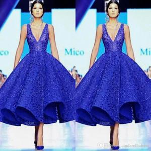 2020 Zuhair Murad Couture Arabie arabe robes de cocktail col V profond manches Prom Parti robe bleu royal dentelle longueur cheville robes de soirée