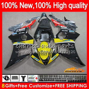 Body+8Gifts For YAMAHA YZF600 YZF R6 600CC 2003 2004 2005 59NO.74 YZF-600 yellow black YZF-R6 YZF 600 R 6 03-05 YZFR6 03 04 05 Fairings Kit