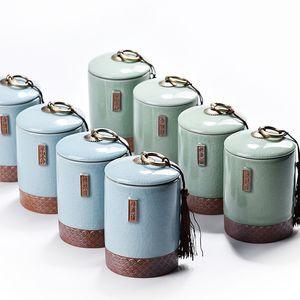 1 PC chinois thé en céramique Boîte Kung Fu à thé vert à thé en porcelaine Choses Mini Bouteille Boîte de rangement portable Voyage boîte de rangement