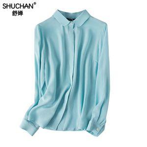 Shuchan Basic Bluse Frauen Langarm 100% Naturseide Strickjacke Feste Bürodame Frauen Shirts Hohe Qualität Sky Blue White