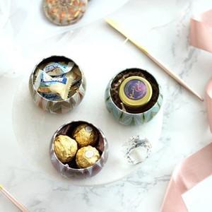 Caja perfumada vela del té Pot Pequeño Té de Oro europea creativo de la boda caja del caramelo de la boda caja de la lata suministros XD22841