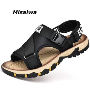 Moda sandalias del verano de los hombres de Misalwa cómodo Slip-sobre el Casual tela de estiramiento plana sandalias de playa para los jóvenes Estudiante CN 39-45