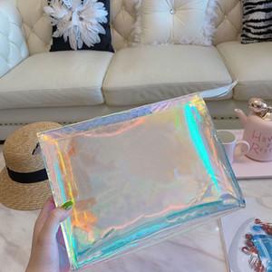Dazzle Hombres embrague láser flash de PVC transparente Embragues bolsos bolsa de lona brillante del bolso de totalizador del bolso del color bolsa
