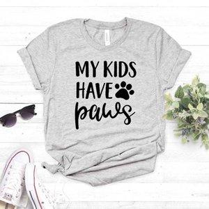Benim çocuklarım var Paws köpek kedi anne Lady Kız Üst Tee Hipster Bırak Gemi T200528 İçin Pamuk Casual Komik t gömlek tişört Kadınlar yazdır