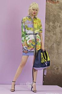 2019 col de chemise imprimé palm beach wind pour les femmes avec des ouvertures irrégulières Robe en mosaïque de couleur contrastante
