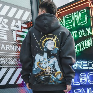 Freestyle Hoodie Men anime japonais imprimé Fleece Sweat-shirt Homme High Street Hip Hop Streetwear Hoodie Automne