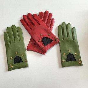 Women's Natural Leather Rivet Punk Style Gloves Female Genuine Leather Hollow Out Red Green Motorcycle Driving Gloves R749