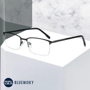 Erkekler Miyop Gözlükler Şeffaf Optik Gözlük Gözlük Erkek Gözlük Çerçeveleri 2019 için BLUEMOKY Alaşım Yarı çerçevesiz gözlükler Çerçeve