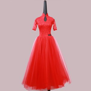 Kırmızı balo salonu dans yarışması elbiseler fringe standart balo salonu elbise kadın elbiseler için dans vals elbise dancewear