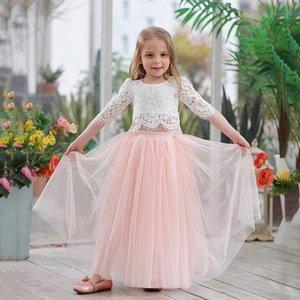 Atacado 2019 Primavera-Verão Set Vestuário para meninas meia luva Lace Top + champagne rosa saia longa crianças roupas 2-11T E17121 T200526