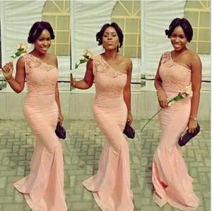 Peach rose pastel Robes de mariée sirène longue en dentelle épaule demoiselle d'honneur Party Robes de mariée Bruidsmeisjes Jurk Prom Robes