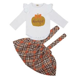 Kızlar Kabak Etek Suit Bebek Kız Bebek Cadılar Bayramı Uzun Kollu Romper Cadılar Bayramı Teması Boş Giyim Askı Kare Etek 06 Tops