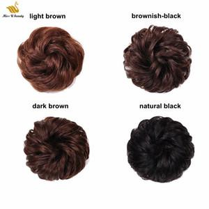100% Real Human Hair Scrunchie Banda elástica Updo Extensiones para el cabello Pelo Bun Topknot Black Brown Curly Chignons