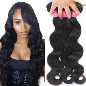 8A Virgin brasileiro corpo do cabelo de onda não transformados extensões do cabelo humano peruano Malásia indiana Corpo brasileira Cabelo Wave 3 Pacotes Dyeable