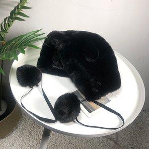 Bombardeiro de Mulheres Winter Hat Plush Faux Plush Hat prova de vento Orelha Quente Protect Bomber Chapéus Bola
