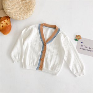 INS Baby Kids cardigan thin sweaters INS Autumn Spring Ribbed cotton kids sweater candy cardigan boys girls cardigan children outwear coat