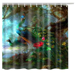 Bagno Tende piume di pavone moda su misura Shower Curtain modello 3d Cartoon Bagno Decor
