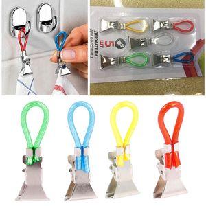5pcs lot Tea Towel Hanging Clips Home Travel Portable Storage Hangers Rack Clip on Hooks Loops Hand Towel Hangers Clothes Folder