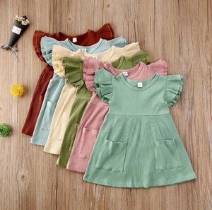 Baby Girl Clothes Solid Toddler Girls Dresses Pocket Flying Sleeve Children Princess Dress Boutique Kids Outfit Summer Baby Clothing DW5388