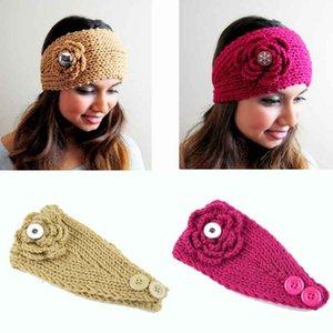 Moda Kış Caps 006 Çiçek Fit 18mm Snap Düğmesi Örme Şapka Takılar Moda Takı Kadınlar Gençler Kız Noel Hediyesi Için