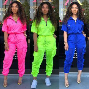 Женщины Soild 2 Piece Cousssuit Летняя молния UP Pullover Mesh Beatwork Короткими рукавами Топы и Большие карманы Свободные штаны Outfit