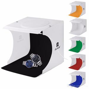 PULUZ 20 * 20 cm 8 Mini caja plegable Caja de luz difusa de estudio suave con luz LED Negro Blanco Fotografía de fondo Foto de caja de estudio
