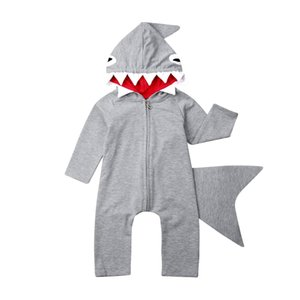 Sping осень новорожденный дети девочка мальчик 3D акула толстовка комбинезон Комбинезон одежда Костюмы косплей костюм 0-3T