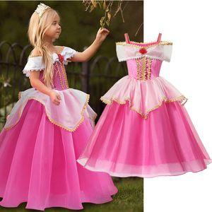 Girls Sleeping Beauty Dress Little Kids Aurora Princess Ball Gown Children Fancy Party Prom Frocks Rose Red Off Shoudler Costume