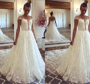 Waishidress 2019 Jewel Sheer Neck A linha de vestido de noiva Cap mangas totalmente Lace ilusão de volta até o chão vestido de noiva com cinto frisado