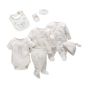 7 Pçs / set Tender Bebês Recém-nascidos Menina Menino Macio Dos Desenhos Animados de Algodão Do Bebê Conjunto de Roupas Infantis Confortável Roupa Infantil Q190521