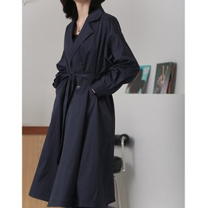 2020 new women's urban recreational dust coat women with closed show thin waist joker cold wind coat 8019 spring model