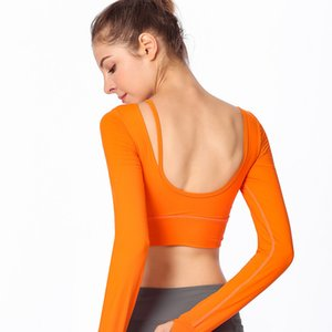 2018 autumn and winter new beauty back yoga clothing long-sleeved T-shirt women with chest pad running sports fitness long-sleeved T-shirt