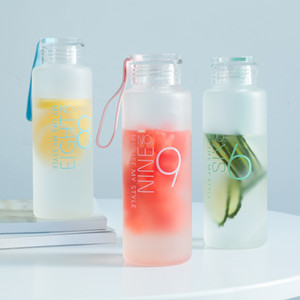 garrafa Baispo fosco água de vidro Garrafa Healthy Water Container Verão Água Lemon Drink Bottles piquenique ao ar livre Y200106 casa