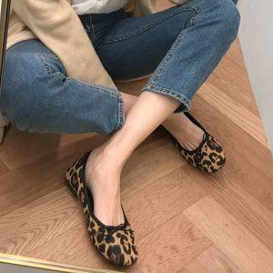 2020 New Leopard Flat Keel Chaussures minces ronde Fashion tête peu profonde bouche Leopard Bow Casual Chaussures femme