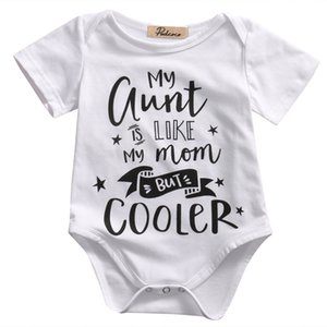 Infant Baby Kids Rompers Summer Baby Boy Girl Short Sleeve Cotton Romper My aunt Stars Rompers Jumpsuit Clothes Outfits 0-18M