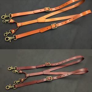 Suspensórios de couro genuíno homens 1.9cm Suspensórios largura 132 centímetros gancho longo