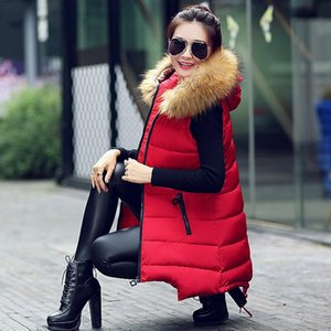 1YZNp Women's cotton vest with big fur collar Down jacket coat cotton-padded clothes medium and long slim large size down jacket coat cotton