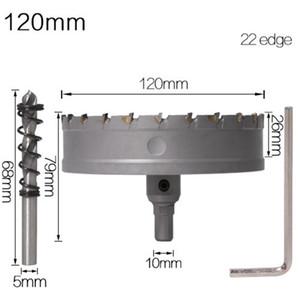 1PC 5A carburo punta TCT Drill Bit Hole Saw 120-160 mm Punta elicoidale Cutter Saw Set Hole per acciaio inossidabile del metallo della lega di perforazione Bits