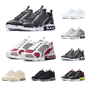 2020 Zoom Spiridon Caged Stussy Running Shoes Triple White Black Grey Metallic Silver Varsity Red Mens Womens Sneakers Sports Size 36-45