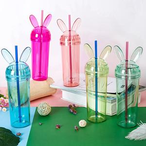 Oreille de lapin coloré Gobelets oreille transparent Souris Bouteille d'eau avec de la paille et le couvercle Coupe Milke Tasse de café filles cadeau HHA1372