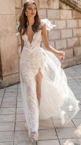 Sereia Vestidos De Noiva V Neck Backless Lace Vestidos De Noiva De Alta Fenda Ver Através Praia Trompete Vestido De Casamento Personalizado